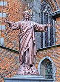 Statue of Jesus near Saint-Nicholas parish church — Stock Photo