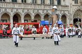 Ceremony of Plantation of Meyboom starts on Grand Place — Stock Photo