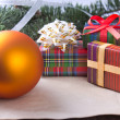 Christmas decoration with gifts — Stock Photo #14375621