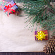 Christmas card with gifts and tree — Stock Photo