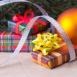 Christmas decoration with gifts — Stock Photo
