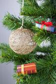 Christmas golden ball on the tree — Stock Photo