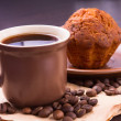 Cup of coffee and beans with cake - Stock Photo