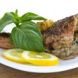 Baked fish with lemon — Stock Photo
