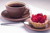 Cup of Tea on White Napkin with Strawberry dessert — Stock Photo