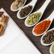 Kitchen book with various of Spices — Stock Photo