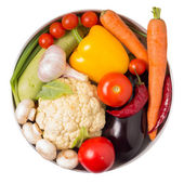 Fresh vegetables in a pot isolated on White. Include Clipping path — Stock Photo