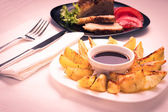 Grilled Potato with Steak — Stock Photo