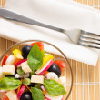 Top view of Fresh Greece Salad Served on Bamboo background — Stock Photo
