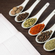 Kitchen book with various of Spices — Stock Photo #27213635