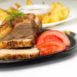 Served Food with Meat and Gilled Potato — Stock Photo