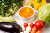 Soup with Vegetables around — Stock Photo