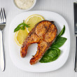 Grilled Salmon Steak. Top View — Stock Photo