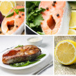 Fresh and Grilled Salmon Steak with Ingredients. Set of images — Stock Photo