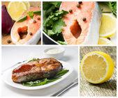 свежие и приготовленные на гриле стейк лосося с ингредиентами. набор изображений — Стоковое фото