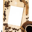 Abstract Coffee Background with Cup of Coffee and Copyspace — Stock Photo