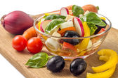 Salad with vegetables around isolated on white background — Stock Photo