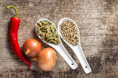 Background with Spices and Vegetables on wood plank — Stock Photo