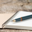 Old golden fountain pen on blank notebook — Stock Photo