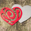 Stock Photo: Red Ornament Paper Heart wih Paper Shadow on wood