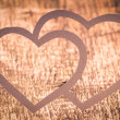 Twin Paper Heart on Wood . Valentines day card — Stock Photo