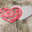 Red Ornament Paper Heart wih Paper Shadow on wood — Stock Photo #37429851