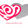 Red Ornament Paper Heart wih Shadow on White — Stock Photo