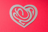 Paper Heart Shape with Ornament on Red Background — 图库照片