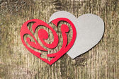 Red Ornament Paper Heart wih Paper Shadow on wood — Stock Photo