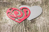 Red Ornament Paper Heart wih Paper Shadow on wood — Stockfoto