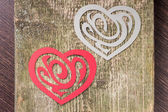 Two Paper Heart Ornamental Shape on wood — Zdjęcie stockowe