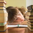 Young girl studying with books. Female Student sleeping during l — Stock Photo