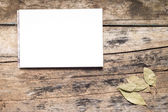 Blank White Notepad with Spices on wooden Board. Kitchen Utensil — Stock Photo