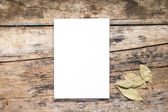 Blank White  Sketchpad with bay leaf on wooden background — Stock Photo