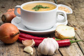 Cooking of pea soup. Ingredients around — Stock Photo