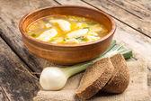 National ukrainian soup with galushky. — Stock Photo