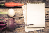 Empty Recipe Card  on Wooden Rustic Background with Fresh Vegetables. — Stock Photo