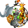 Vector de stock : Funny animal cartoon set