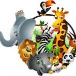 Funny animal cartoon set — Stock Vector