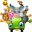 Royalty-Free Stock Vector Image: Funny animal cartoon set in green car