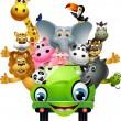 Funny animal cartoon set in green car — Stock Vector #12187707