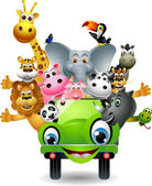 Funny animal cartoon set in green car — Cтоковый вектор