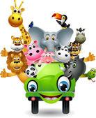 Funny animal cartoon set in green car — Stock Vector