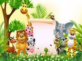Animal cartoon in jungle with blank sign — Cтоковый вектор