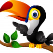 Toucan bird cartoon presenting — Stock Vector #12211241