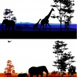 Silhouette of safari animal wildlife - Stock Vector