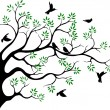 Royalty-Free Stock Vector Image: Tree silhouette with bird flying