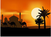 Camel trip with mosque background — Stock Vector