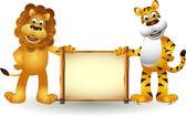 Lustige cartoon von tiger und löwe — Stockvektor