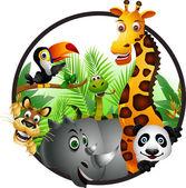 Desenhos animados engraçados de animais — Vetor de Stock